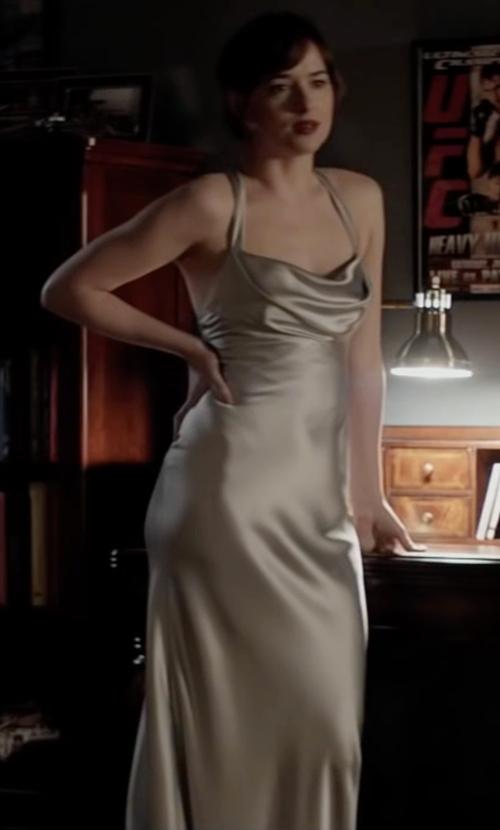 Dakota Johnson with Galvan Silk Dress in Fifty Shades Darker