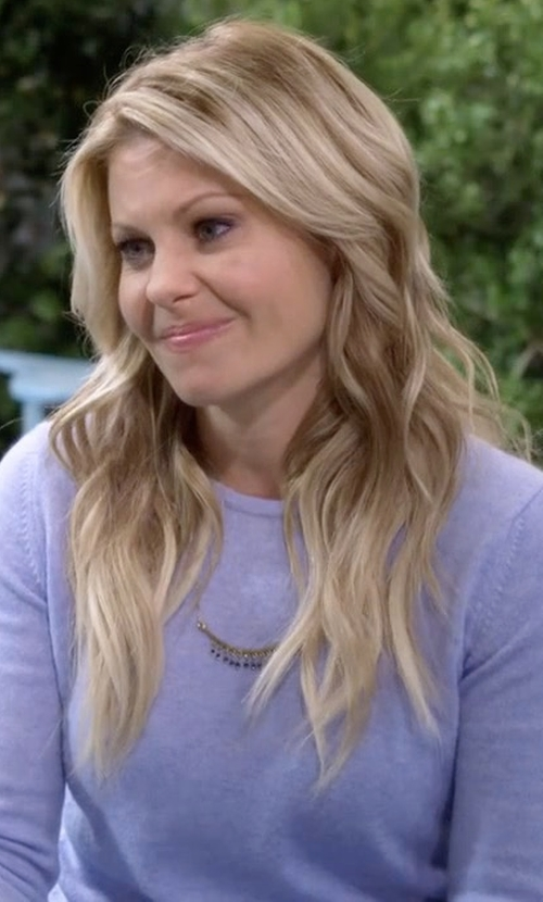 Candace Cameron Bure with White + Warren Essential Crew Neck Sweater in Fuller House
