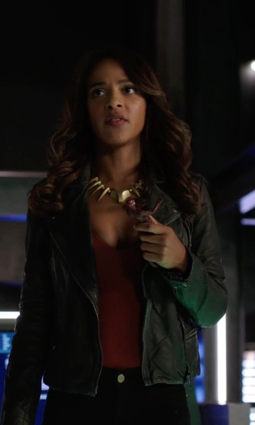 Megalyn Echikunwoke with All Saints Bleeker Leather Biker Jacket in Arrow