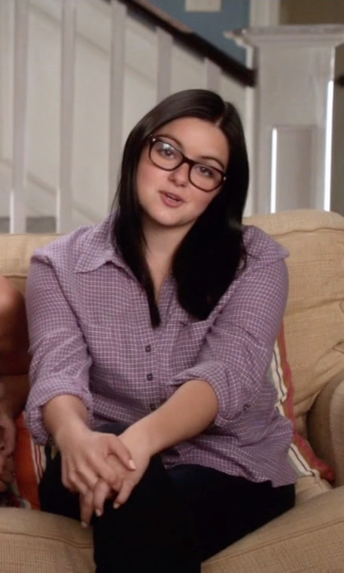 Ariel Winter with Barbour Raby Cotton Gingham Check Shirt in Modern Family