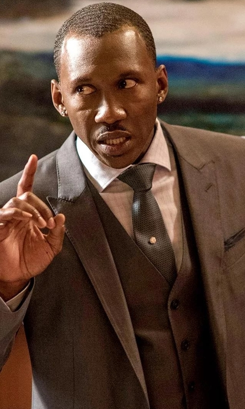 Mahershala Ali with Boss Hugo Boss Huge Genius Slim Birdseye Three-Piece Suit in Marvel's Luke Cage