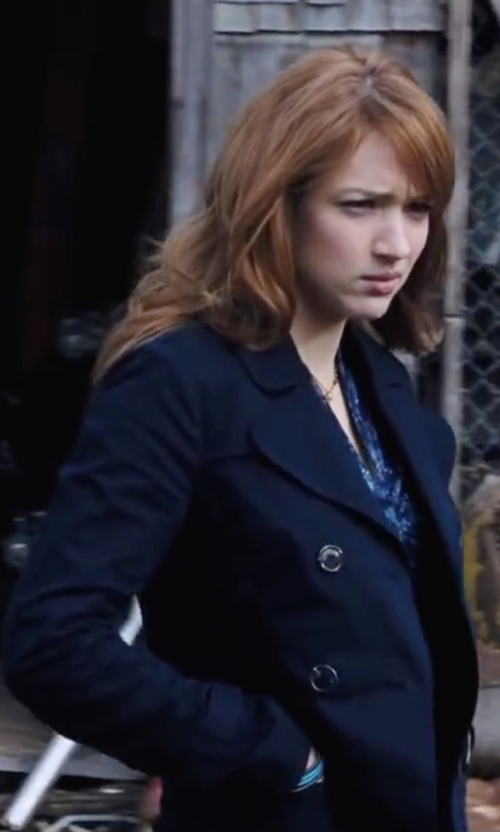 Kristen Connolly with Calvin Klein Double-Breasted Trench Coat in Cabin in the Woods