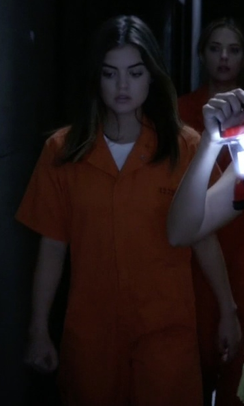 Lucy Hale with Px:Direct Jail Products Inmate Jumpsuit in Pretty Little Liars