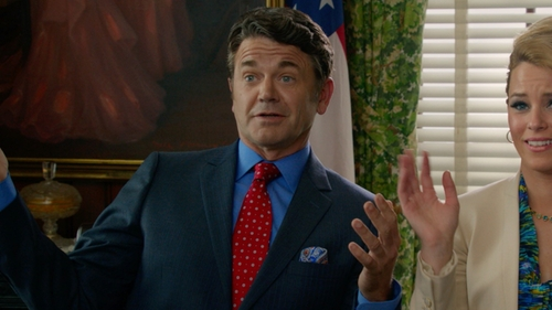 John Michael Higgins with Brooks Brothers Non-Iron Traditional Fit Spread Collar Dress Shirt in Pitch Perfect 2