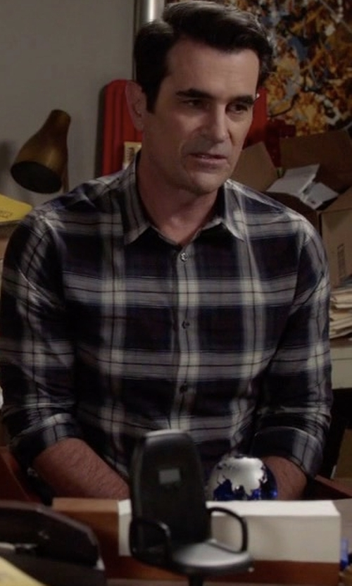 Ty Burrell with Vince Plaid Linen-Blend Sport Shirt in Modern Family