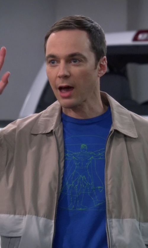 Jim Parsons with Kenneth Cole New York Colorblock Zip-Up Jacket in The Big Bang Theory