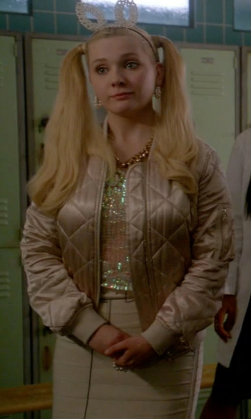 Abigail Breslin with Band of Outsiders Tromp L'oeil Printed Side-Zip Miniskirt in Scream Queens