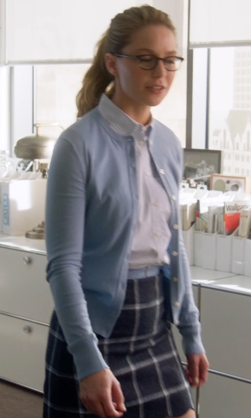 Melissa Benoist with House Of Holland Coco Checked Wool Mini Skirt in Supergirl