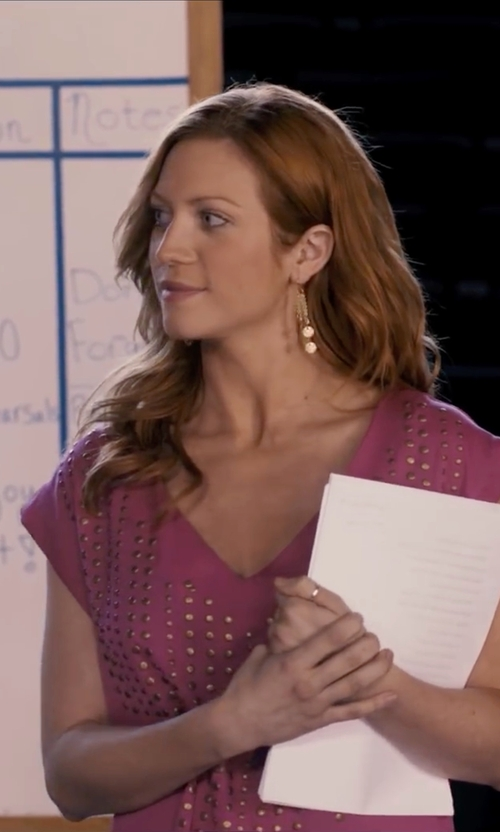 Brittany Snow with Material Girl Studded T-Shirt in Pitch Perfect