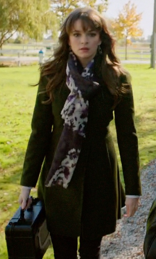Danielle Panabaker with Vince Camuto Long Wool Blend Trench Coat in Arrow