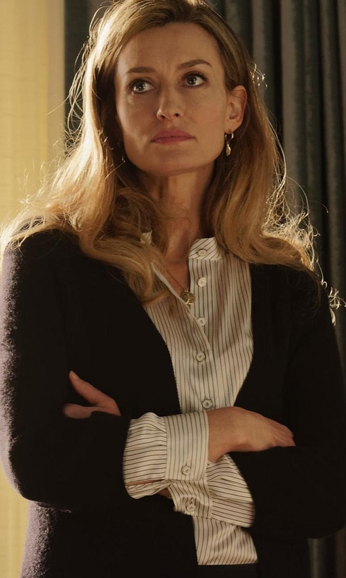 Natascha McElhone with Joie Kira Silk Button Up Blouse in Designated Survivor