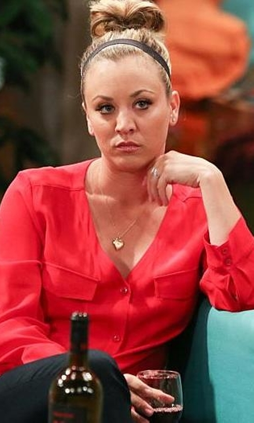 Kaley Cuoco-Sweeting with Lord & Taylor Two Toned Heart Necklace in The Big Bang Theory