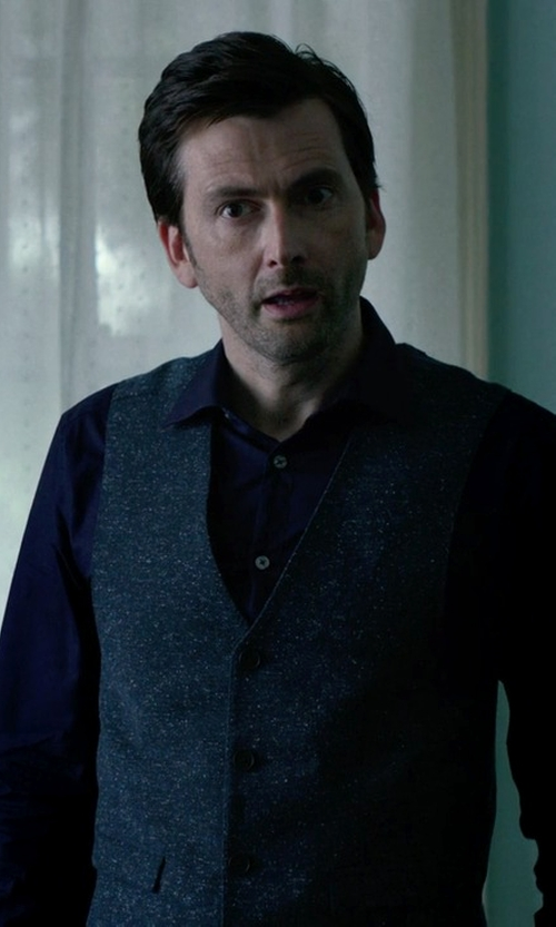 David Tennant with Selected Homme V Neckline Vest in Jessica Jones