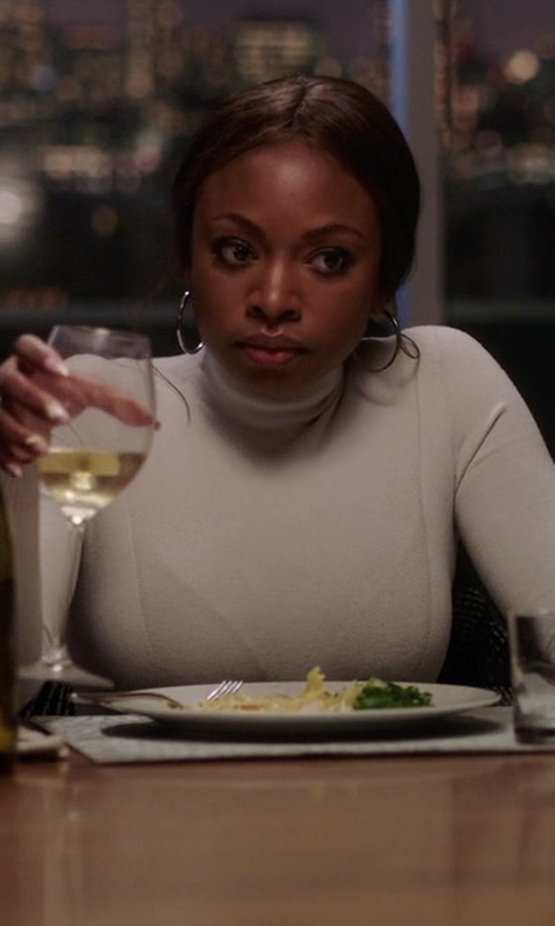 Naturi Naughton with Majestic Paris for Neiman Marcus Soft Touch Turtleneck Top in Power