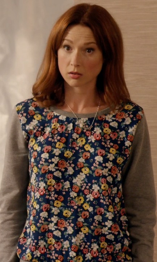 Ellie Kemper with Joie Feronia Cashmere Floral-Print Sweater in Unbreakable Kimmy Schmidt