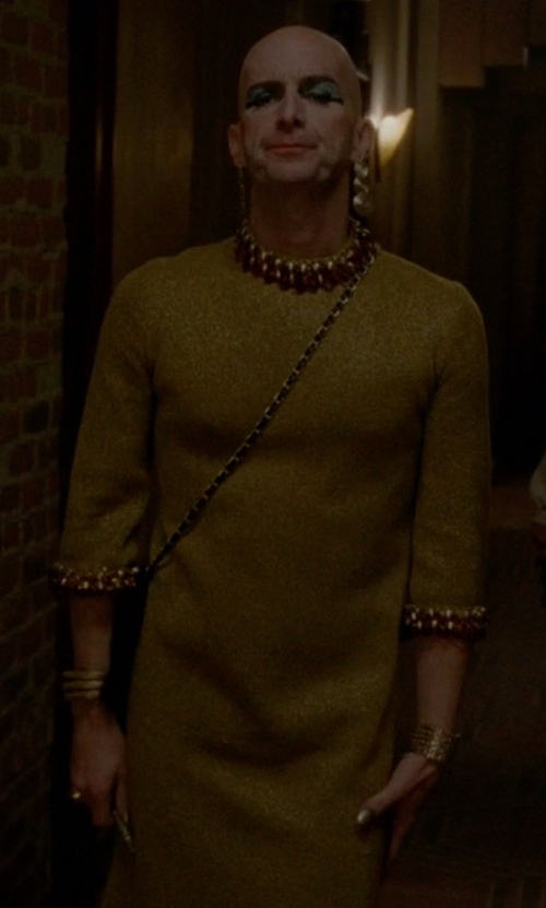 Denis O'Hare with Eliza J Sequin Velvet Sheath Dress in American Horror Story