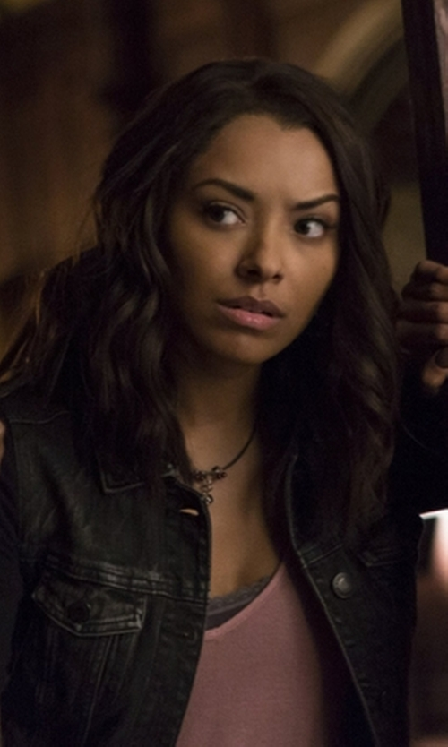 Kat Graham with Chan Luu Onyx Mix Charm Pendant Necklace in The Vampire Diaries