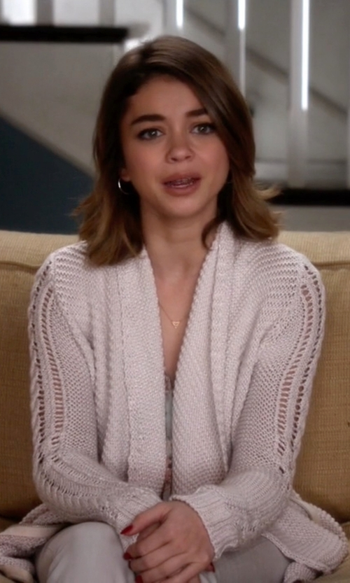 Sarah Hyland with Rachel Roy Waffle-Knit Shawl Collar Cardigan in Modern Family