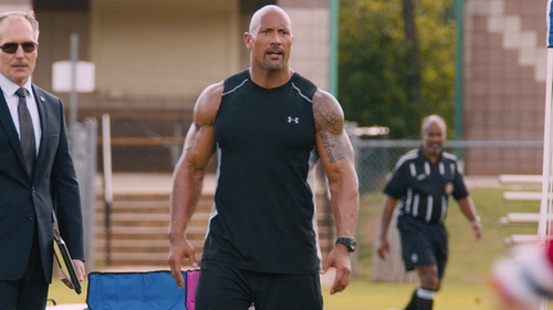 Dwayne Johnson with Under Armour Raid Shorts in The Fate of the Furious