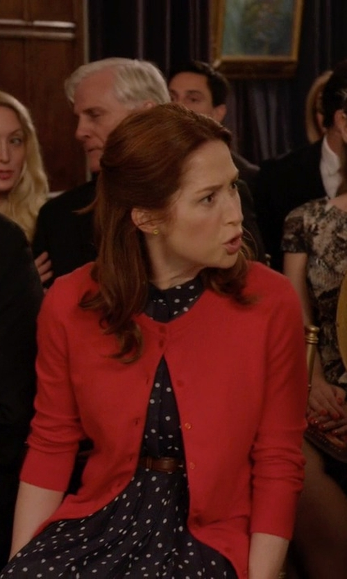Ellie Kemper with August Silk Soft Knit Cardigan in Unbreakable Kimmy Schmidt