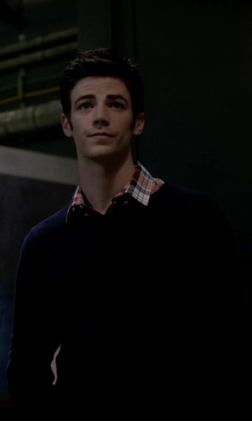 Grant Gustin with Paolo Pecora Crew Neck Sweater in The Flash