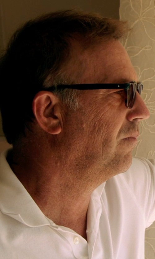 Kevin Costner with Cutler & Gross Rounded-Square-Frame Sunglasses in Black or White