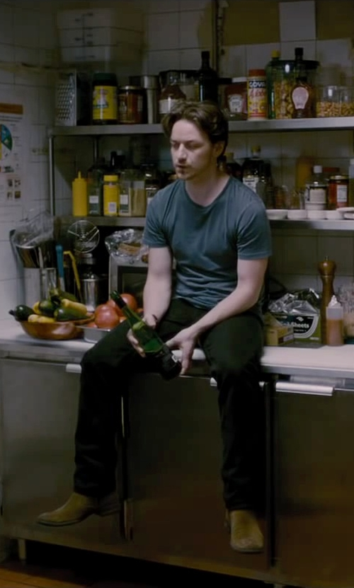 James McAvoy with PS By Paul Smith Brown Suede Claude Mid Zip Boots in The Disappearance of Eleanor Rigby