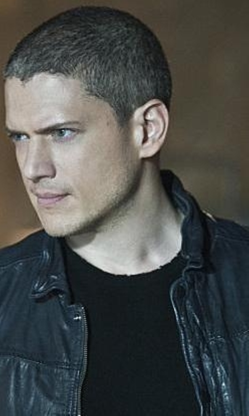 Wentworth Miller with Calvin Klein Coated Basic Moto Jacket in The Flash