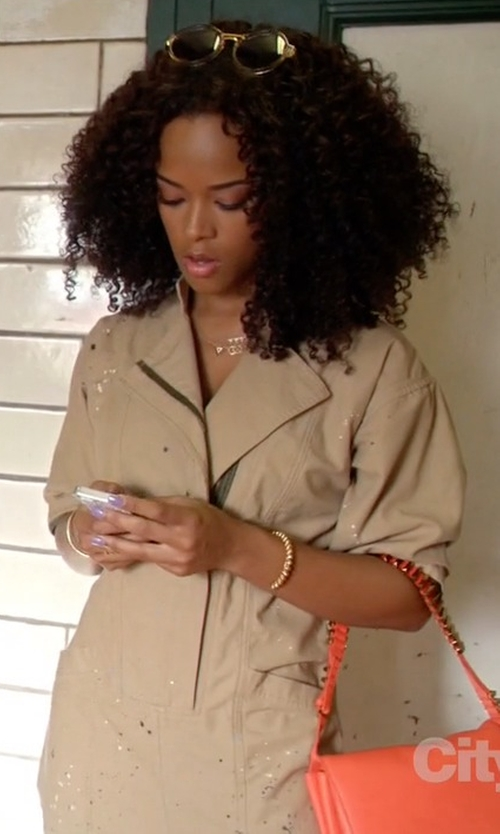 Serayah with Sea Paint-Splattered Jumpsuit in Empire