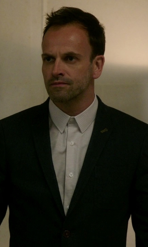 Jonny Lee Miller with River Island Slim Suit Jacket in Elementary