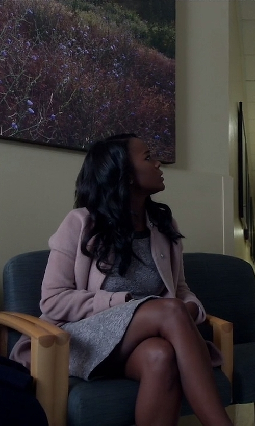 Aja Naomi King with Rebecca Taylor 'Melton' Cocoon Coat in How To Get Away With Murder
