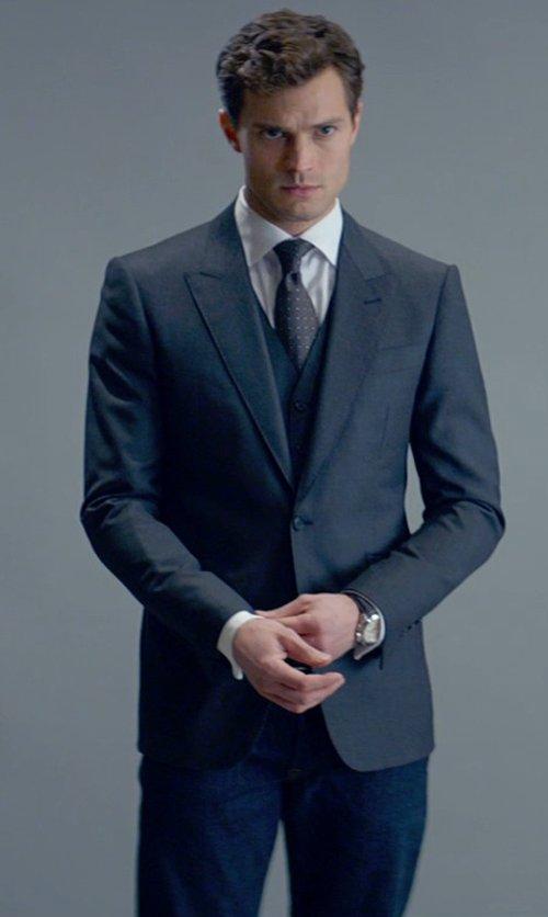 Jamie Dornan with Mark Bridges (Costume Designer) Custom Made Wool Vest in Fifty Shades of Grey