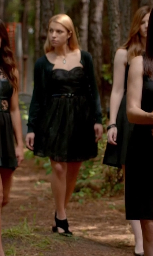 Teressa Liane with Alfred Sung Strapless Satin Fit & Flare Dress in The Vampire Diaries