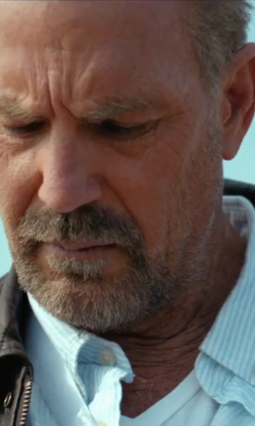 Kevin Costner with Ike Behar Dobby Stripe Dress Shirt in Criminal