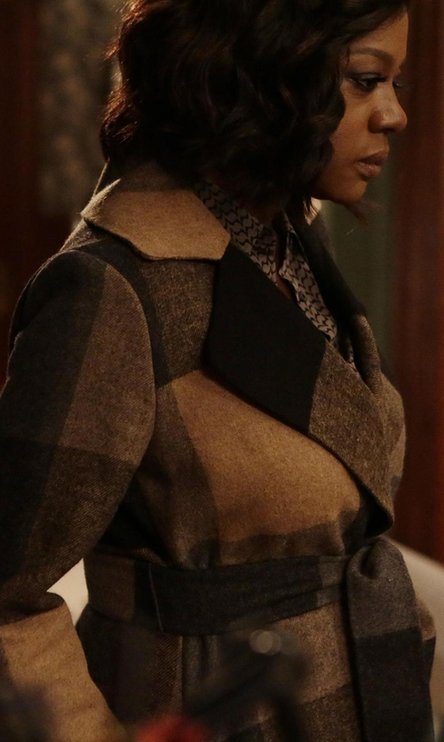 Viola Davis with Michael Kors Plaid Wool Blend Wrap Coat in How To Get Away With Murder