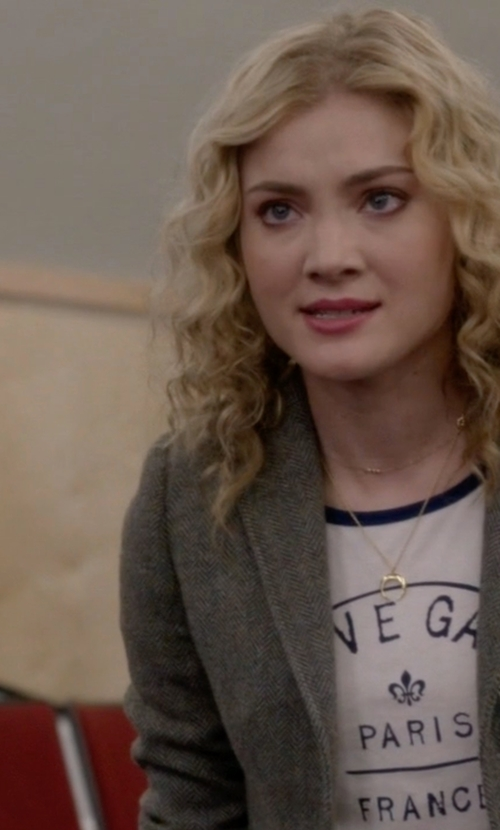 Skyler Samuels with Forever21 Rive Gauche Ringer T-Shirt in Scream Queens