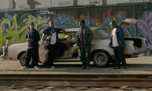 Unknown Actor with Lincoln 1980 Continental Coupe Mark VI in Straight Outta Compton