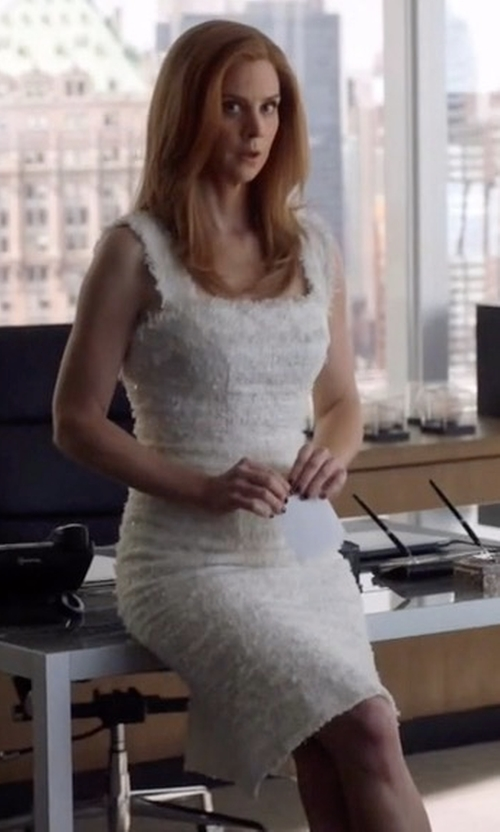 Sarah Rafferty with Trina Turk Stow Fringed Lace Dress in Suits