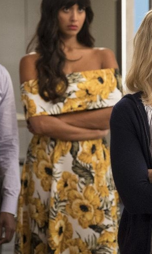 Jameela Jamil with Asos Golden Floral Bardot Midi Dress in The Good Place