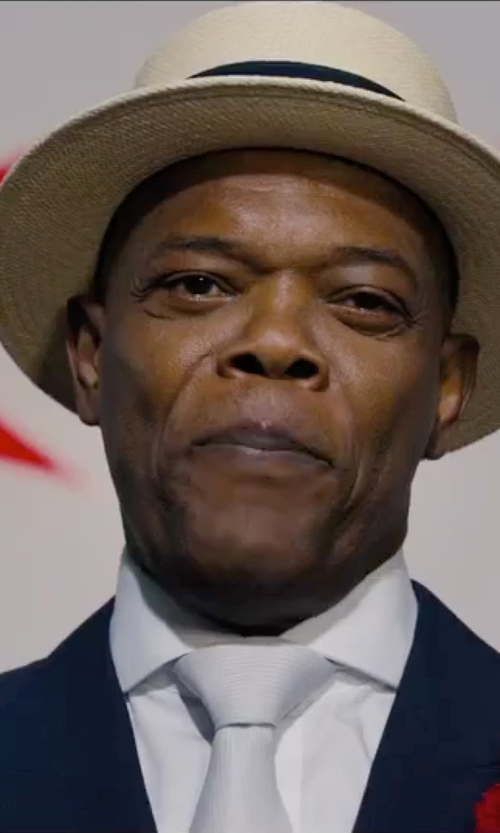 Samuel L. Jackson with English Laundry Trim Fit Solid Wool Suit in Chi-Raq