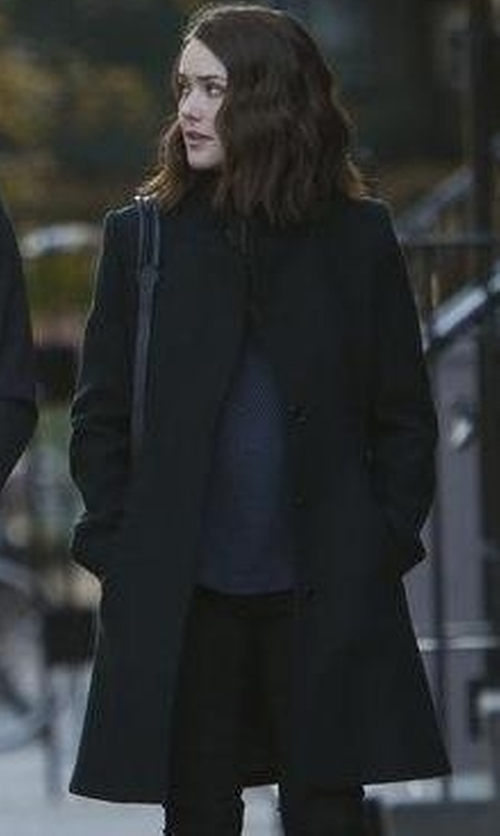 Megan Boone with Derek Lam 10 Crosby Leather-Trimmed Button-Down Coat in The Blacklist