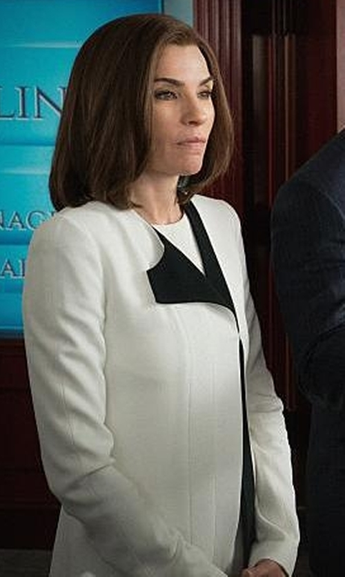 Julianna Margulies with Narciso Rodriguez Crepe One Sided Lapel Jacket in The Good Wife
