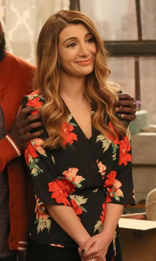 Nasim Pedrad with Topshop Rita Floral Wrap Top in New Girl