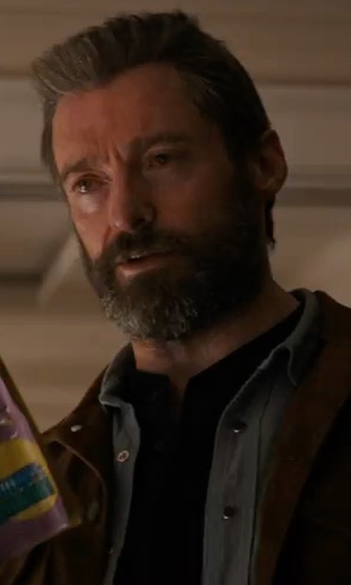 Hugh Jackman with True Religion Ryan Western-Style Denim Shirt in Logan