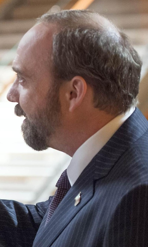 Paul Giamatti with Michael Kors Micro Dot Silk Tie in Billions
