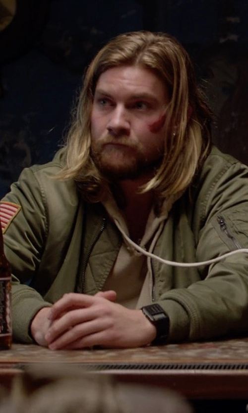 Jake Weary with Alpha Industries L 2B Flex Bomber Jacket in Animal Kingdom