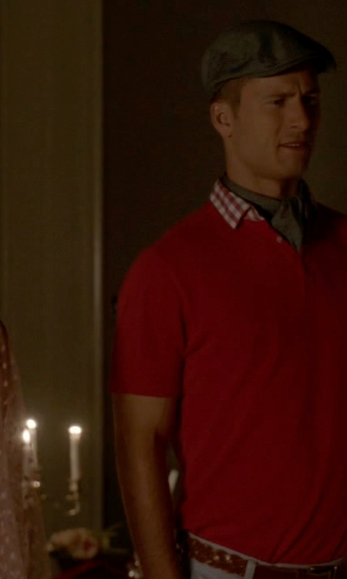 Glen Powell with Stone Rose Pima Cotton Polo Shirt in Scream Queens