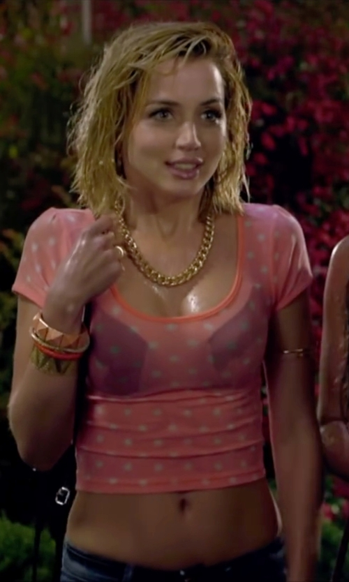 Ana de Armas with Queen Of Cases Polka Dots Crop Top in Knock Knock