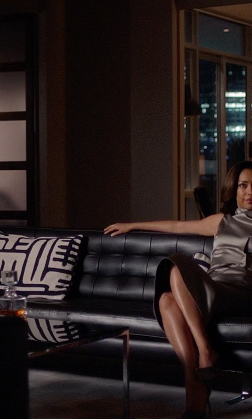 Gina Torres with Lifestyle Solutions Rudolpho Convertible Sofa in Suits