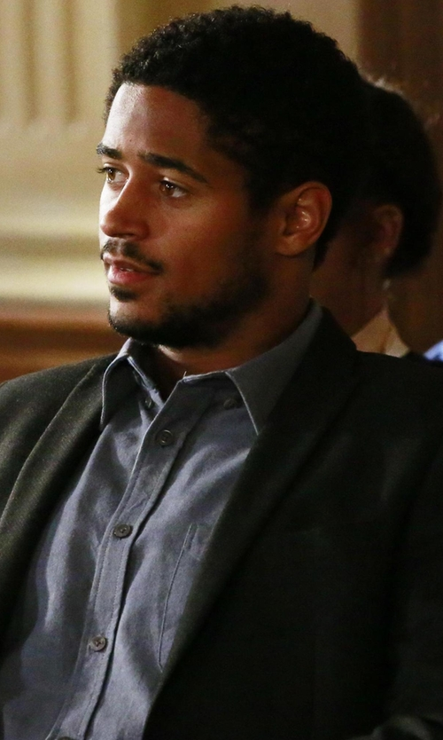 Alfred Enoch with Brioni  Solid Dress Shirt in How To Get Away With Murder